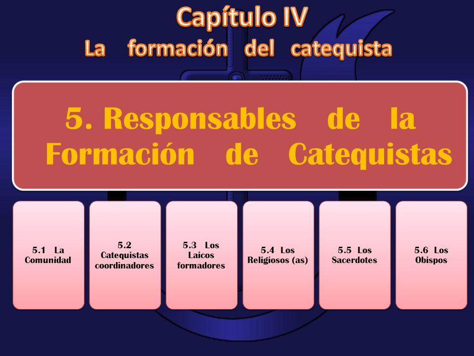 5. Responsables de la Formación de Catequistas 5.1 La Comunidad 5.2 Catequistas coordinadores 5.3 Los Laicos formadores 5.4 Los Religiosos (as) 5.5 Lo