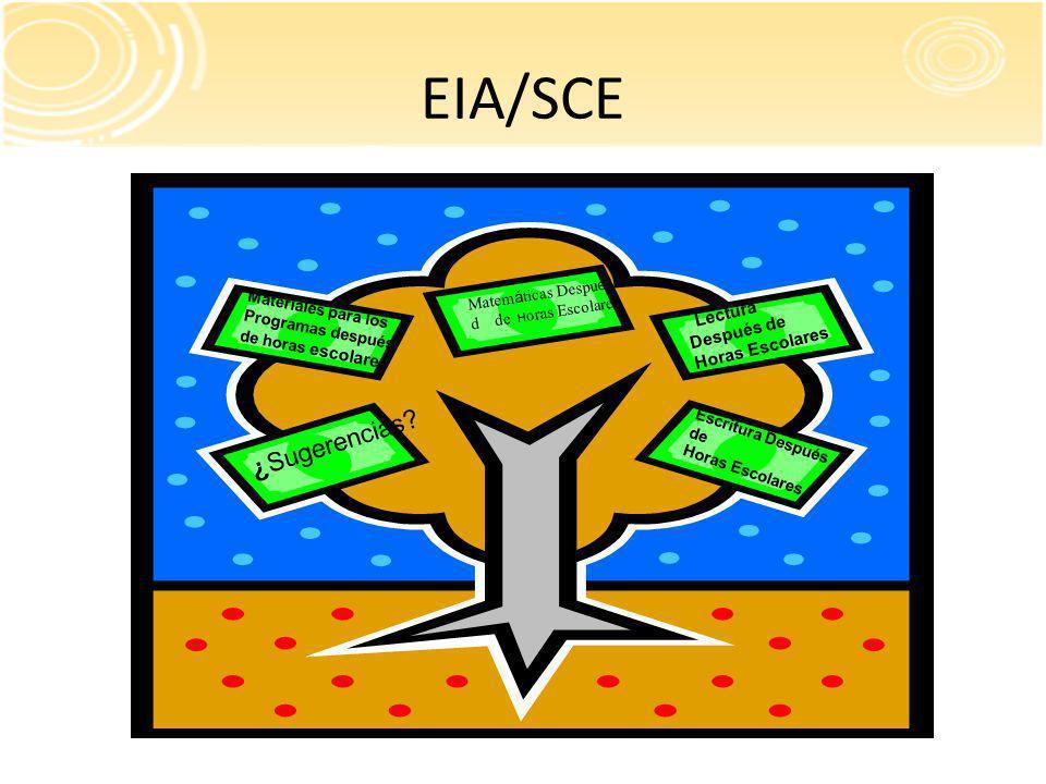 EIA/SCE Lectura Después de Horas Escolares Matem á ticas Despu é s d de H oras Escolares ¿Sugerencias.