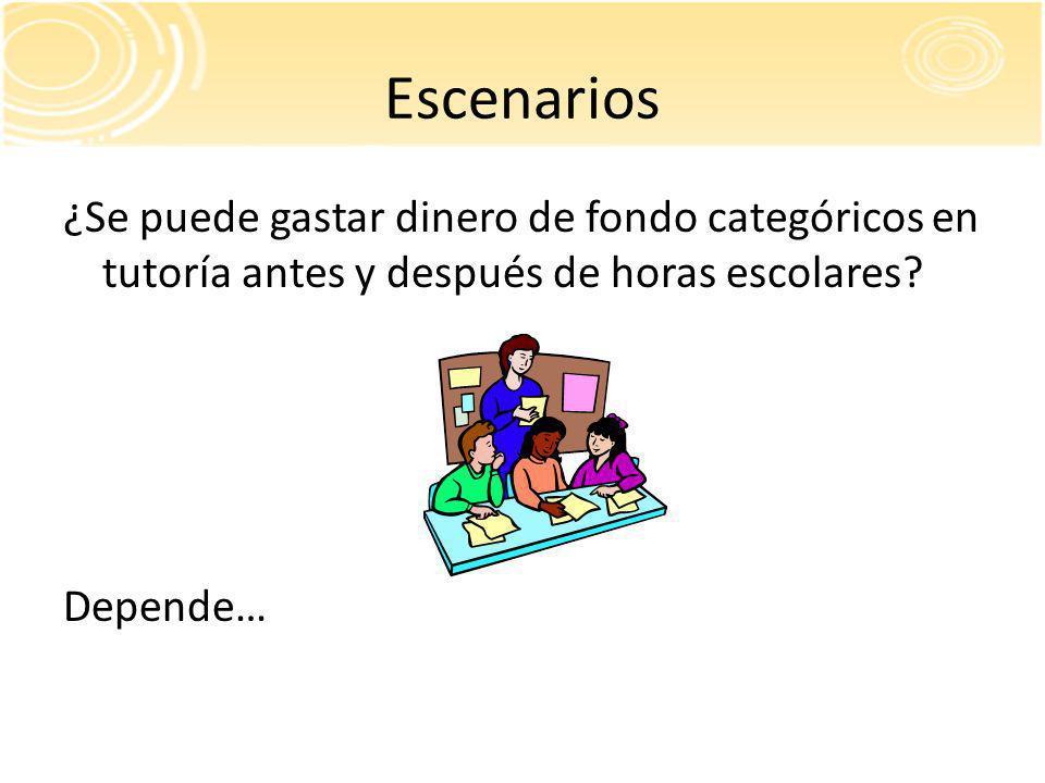Escenarios ¿Se puede gastar dinero de fondo categóricos en tutoría antes y después de horas escolares.