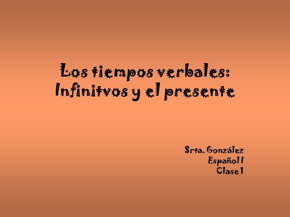 Los tiempos verbales: Infinitvos y el presente Srta. González Español I Clase 1