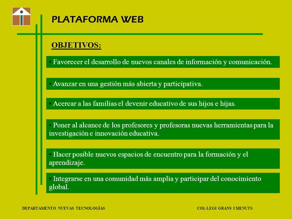 DEPARTAMENTO NUEVAS TECNOLOGÍAS COL·LEGI GRANS I MENUTS PLATAFORMA WEB OBJETIVOS: Favorecer el desarrollo de nuevos canales de información y comunicac