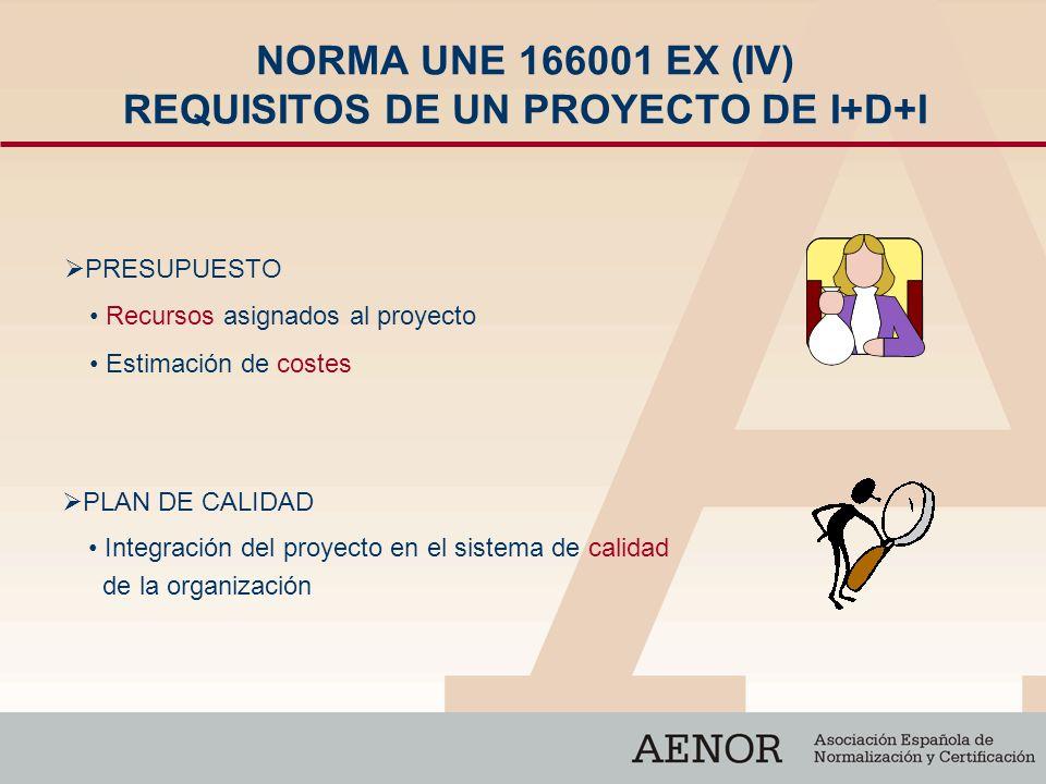 NORMA UNE 166001 EX (IV) REQUISITOS DE UN PROYECTO DE I+D+I PRESUPUESTO PLAN DE CALIDAD Integración del proyecto en el sistema de calidad de la organi
