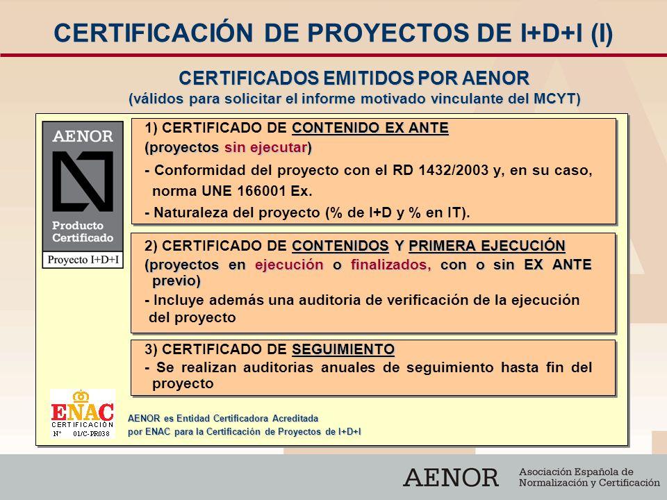 CERTIFICACIÓN DE PROYECTOS DE I+D+I (I) CONTENIDO EX ANTE 1) CERTIFICADO DE CONTENIDO EX ANTE (proyectos sin ejecutar) - Conformidad del proyecto con