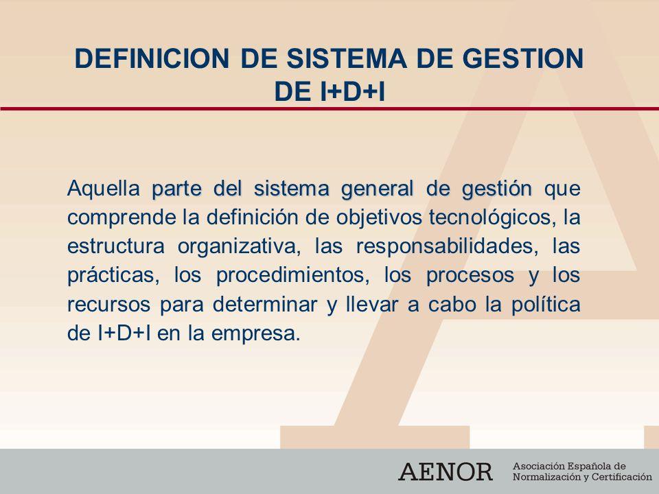 DEFINICION DE SISTEMA DE GESTION DE I+D+I parte del sistema general de gestión Aquella parte del sistema general de gestión que comprende la definició