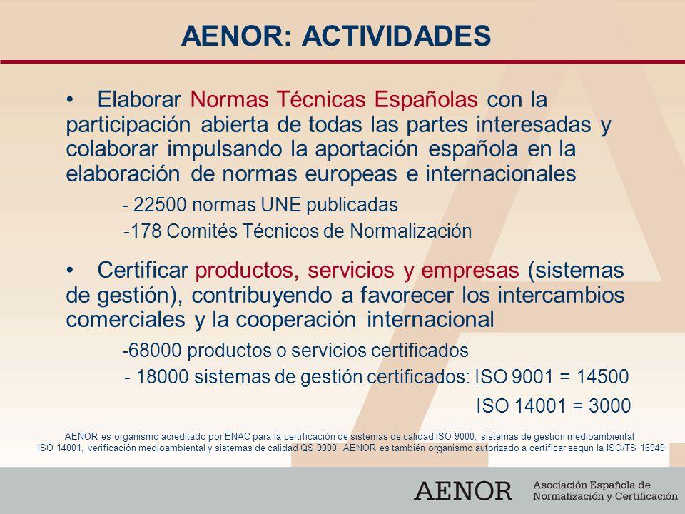 AENOR: ACTIVIDADES Elaborar Normas Técnicas Españolas con la participación abierta de todas las partes interesadas y colaborar impulsando la aportació