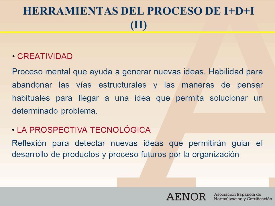 HERRAMIENTAS DEL PROCESO DE I+D+I (II) CREATIVIDAD Proceso mental que ayuda a generar nuevas ideas. Habilidad para abandonar las vías estructurales y