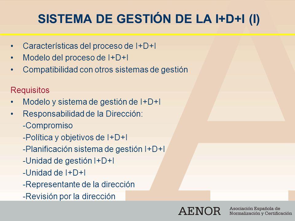 SISTEMA DE GESTIÓN DE LA I+D+I (I) Características del proceso de I+D+I Modelo del proceso de I+D+I Compatibilidad con otros sistemas de gestión Requi