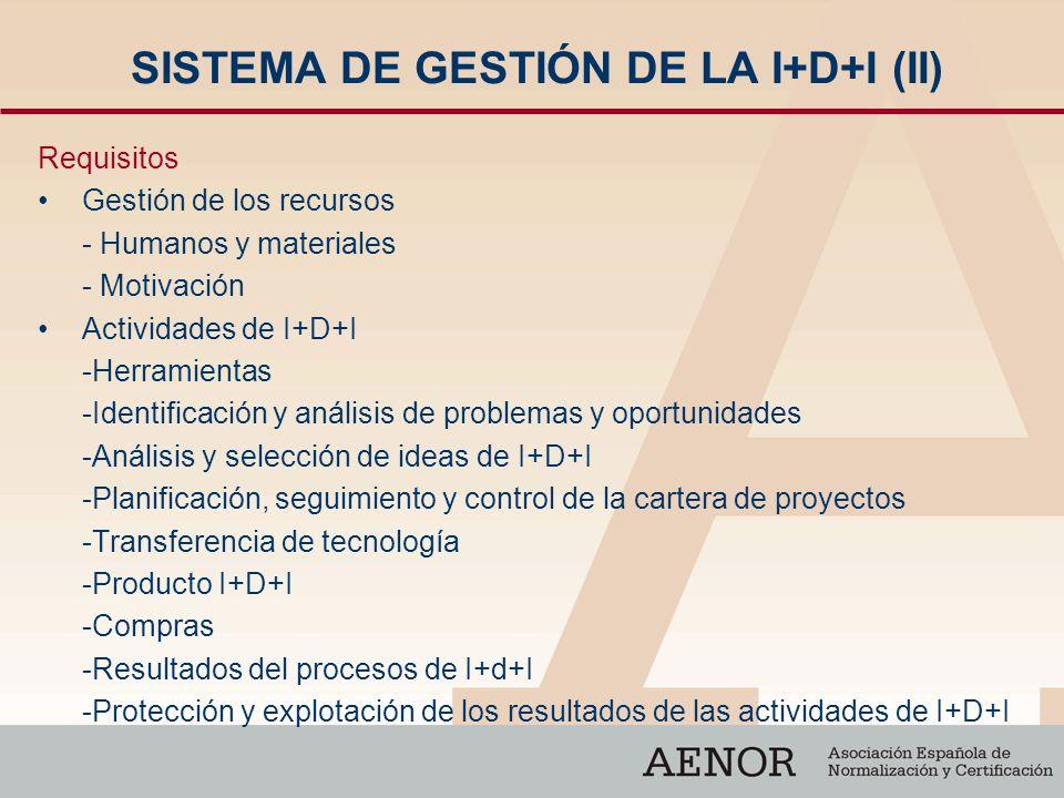 SISTEMA DE GESTIÓN DE LA I+D+I (II) Requisitos Gestión de los recursos - Humanos y materiales - Motivación Actividades de I+D+I -Herramientas -Identif