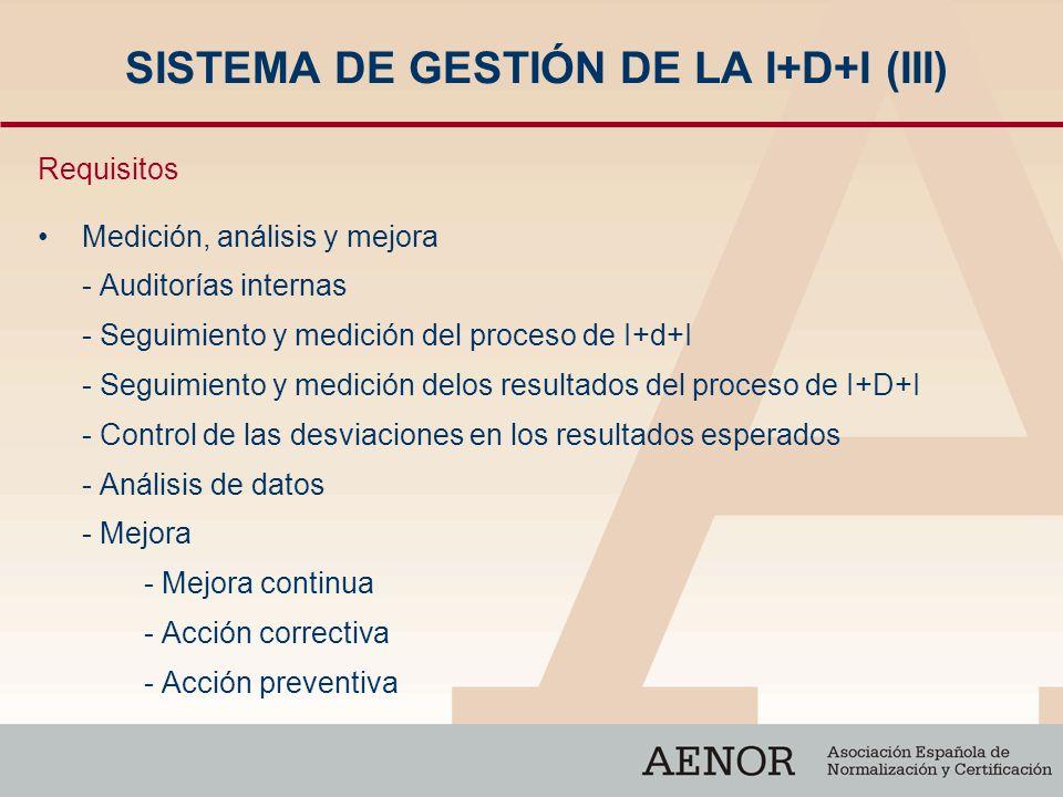 SISTEMA DE GESTIÓN DE LA I+D+I (III) Requisitos Medición, análisis y mejora - Auditorías internas - Seguimiento y medición del proceso de I+d+I - Segu