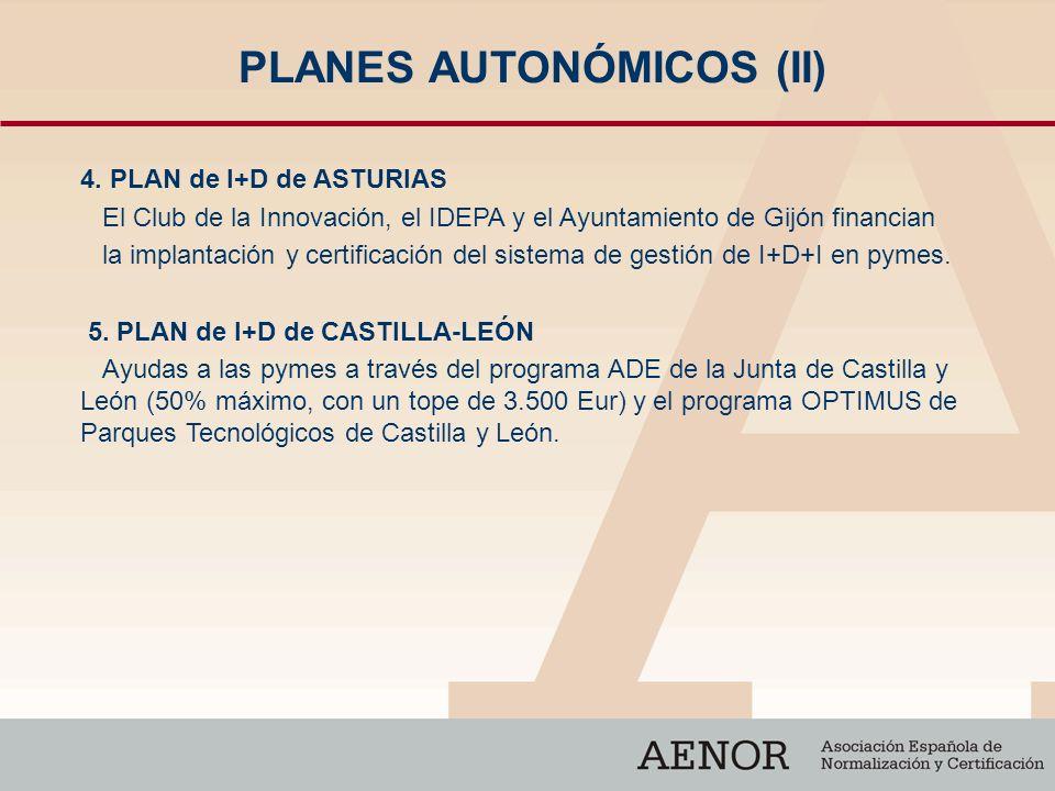 PLANES AUTONÓMICOS (II) 4. PLAN de I+D de ASTURIAS El Club de la Innovación, el IDEPA y el Ayuntamiento de Gijón financian la implantación y certifica