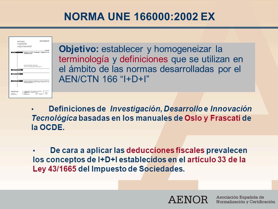 NORMA UNE 166000:2002 EX Objetivo: establecer y homogeneizar la terminología y definiciones que se utilizan en el ámbito de las normas desarrolladas p
