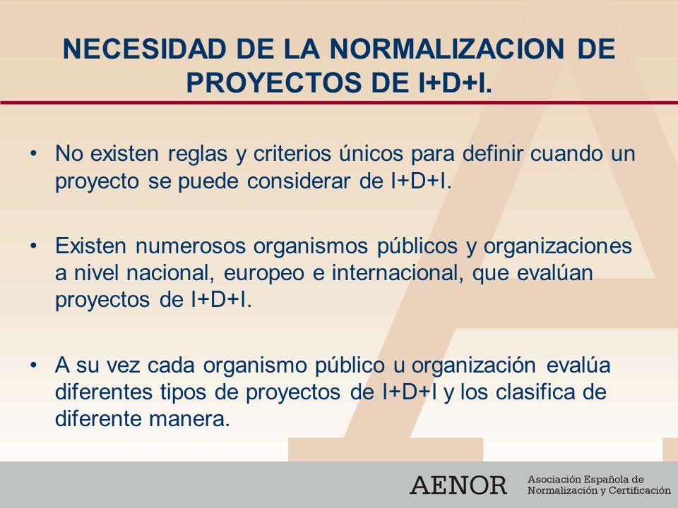 NECESIDAD DE LA NORMALIZACION DE PROYECTOS DE I+D+I. No existen reglas y criterios únicos para definir cuando un proyecto se puede considerar de I+D+I