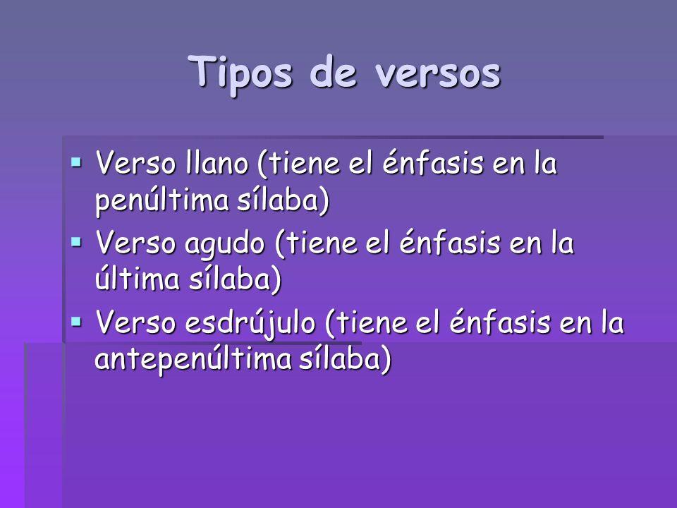 Tipos de versos Verso llano (tiene el énfasis en la penúltima sílaba) Verso llano (tiene el énfasis en la penúltima sílaba) Verso agudo (tiene el énfa