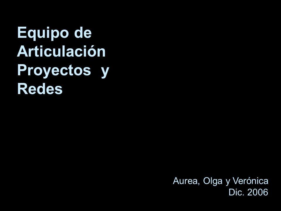 Equipo de Articulación Proyectos y Redes Aurea, Olga y Verónica Dic. 2006