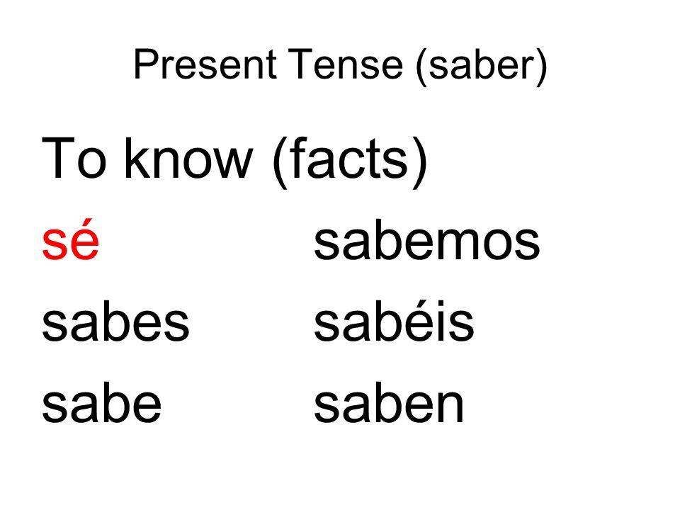 Present Tense (saber) To know (facts) sésabemos sabessabéis sabesaben