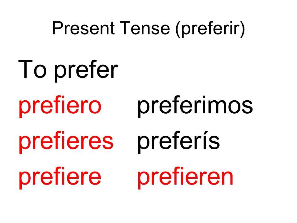 Present Tense (preferir) To prefer prefieropreferimos prefierespreferís prefiereprefieren