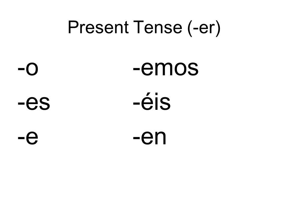 Present Tense (-er) -o-emos -es-éis -e-en