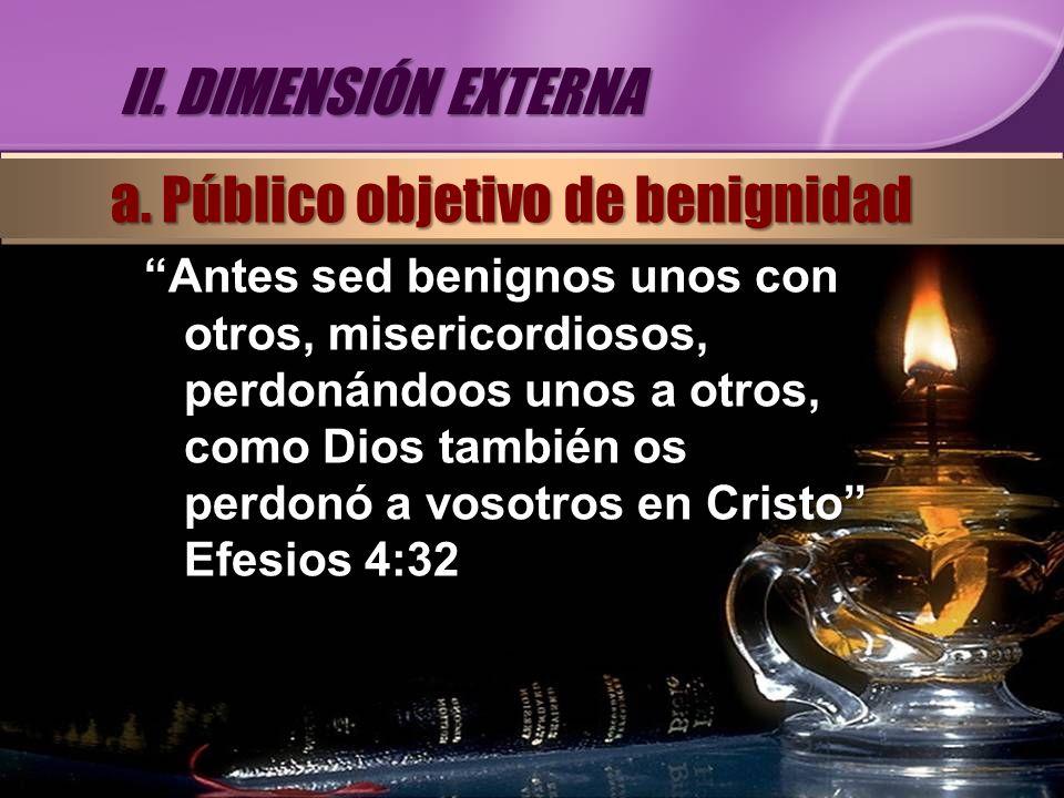 Antes sed benignos unos con otros, misericordiosos, perdonándoos unos a otros, como Dios también os perdonó a vosotros en Cristo Efesios 4:32 II. DIME