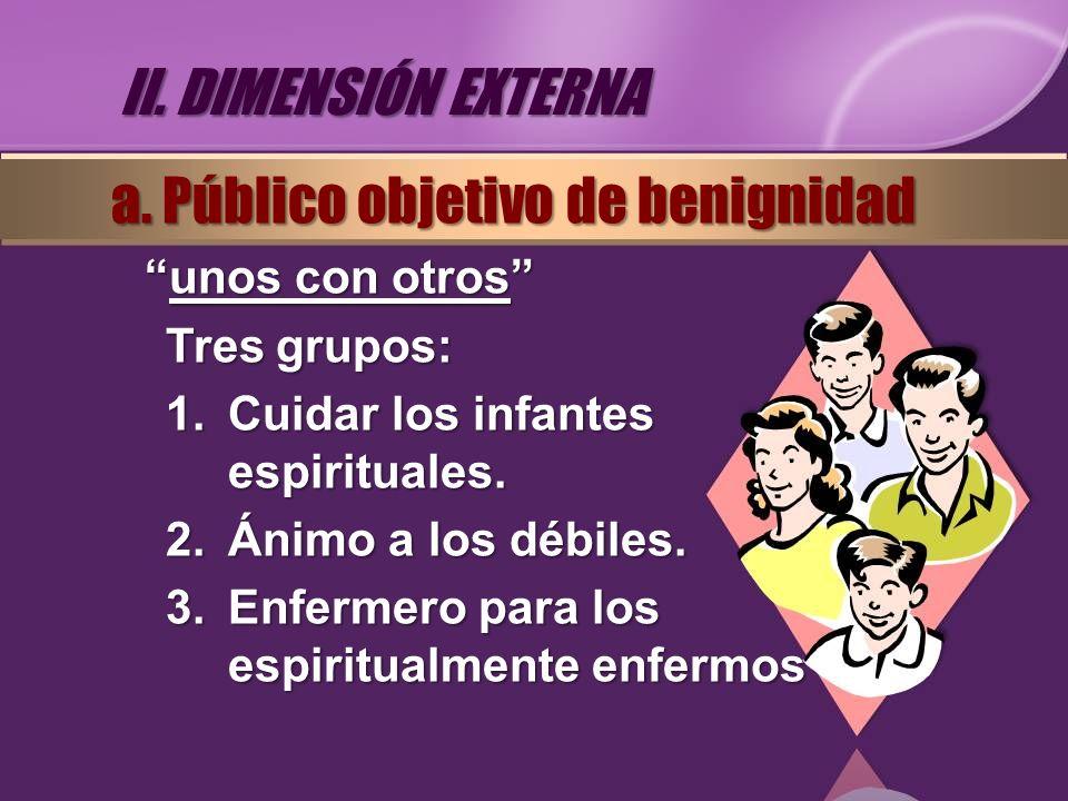 unos con otrosunos con otros Tres grupos: 1.Cuidar los infantes espirituales. 2.Ánimo a los débiles. 3.Enfermero para los espiritualmente enfermos II.