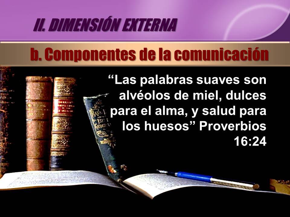 Las palabras suaves son alvéolos de miel, dulces para el alma, y salud para los huesos Proverbios 16:24 II. DIMENSIÓN EXTERNA b. Componentes de la com