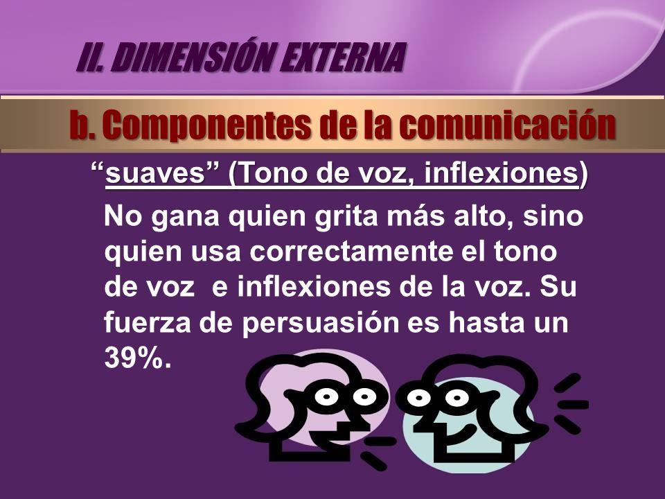 suaves (Tono de voz, inflexiones)suaves (Tono de voz, inflexiones) No gana quien grita más alto, sino quien usa correctamente el tono de voz e inflexi