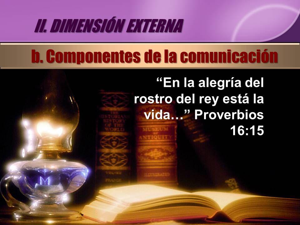 En la alegría del rostro del rey está la vida… Proverbios 16:15 II. DIMENSIÓN EXTERNA b. Componentes de la comunicación