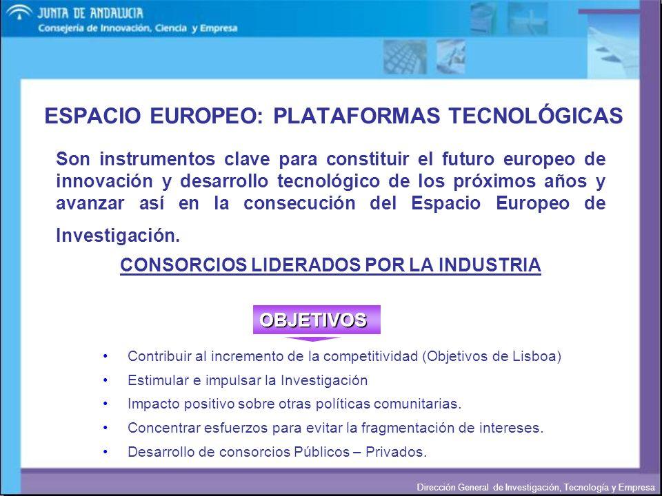 Dirección General de Investigación, Tecnología y Empresa ESPACIO EUROPEO: PLATAFORMAS TECNOLÓGICAS Son instrumentos clave para constituir el futuro eu