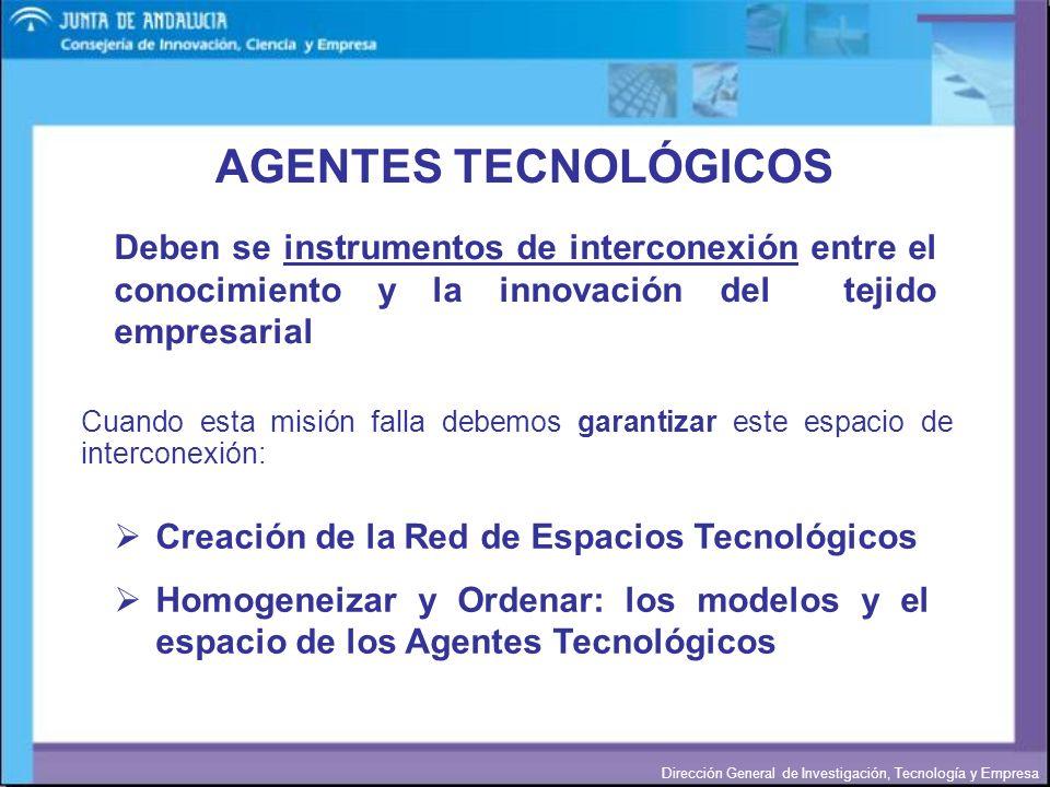 Dirección General de Investigación, Tecnología y Empresa AGENTES TECNOLÓGICOS Cuando esta misión falla debemos garantizar este espacio de interconexió