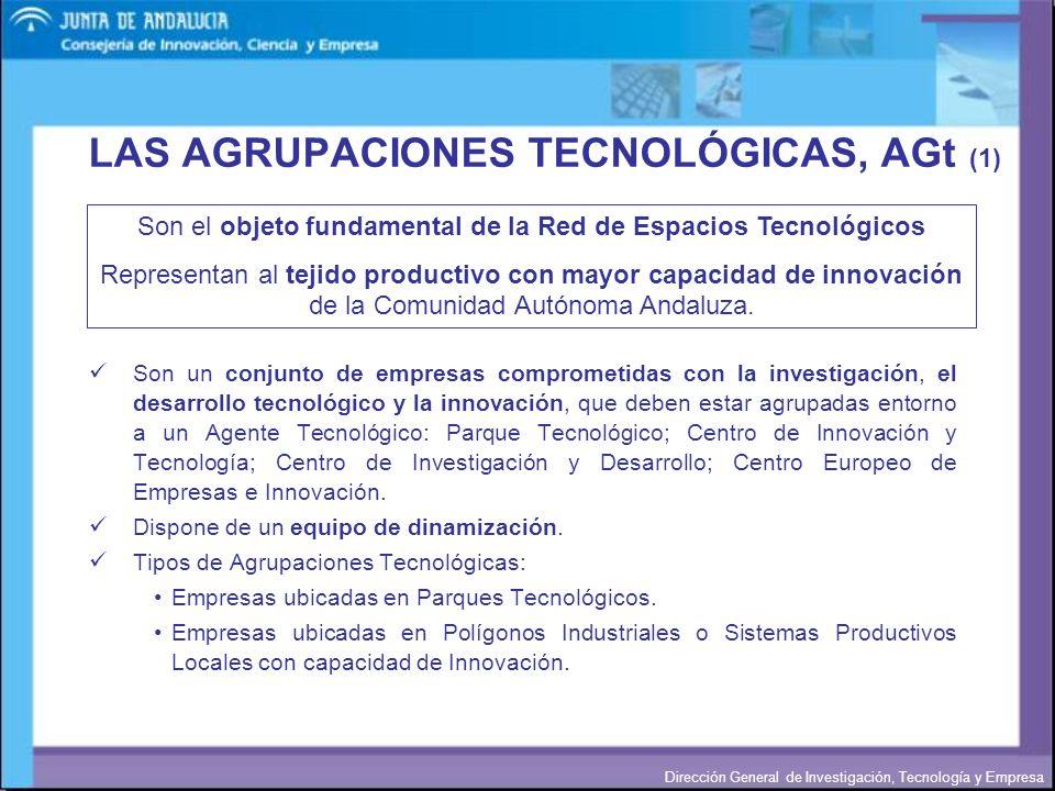 Dirección General de Investigación, Tecnología y Empresa LAS AGRUPACIONES TECNOLÓGICAS, AGt (1) Son un conjunto de empresas comprometidas con la inves