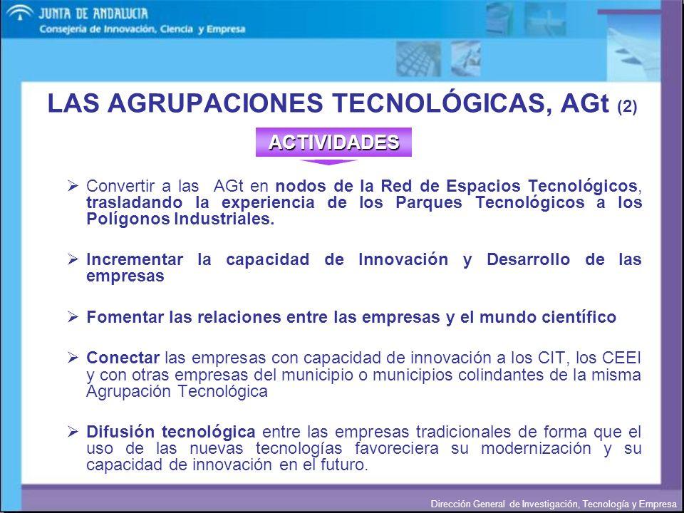 Dirección General de Investigación, Tecnología y Empresa Convertir a las AGt en nodos de la Red de Espacios Tecnológicos, trasladando la experiencia d