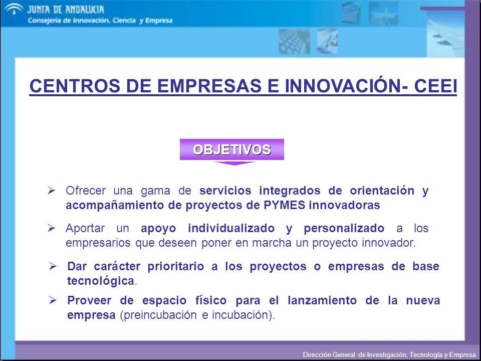 Dirección General de Investigación, Tecnología y Empresa CENTROS DE EMPRESAS E INNOVACIÓN- CEEI Dar carácter prioritario a los proyectos o empresas de