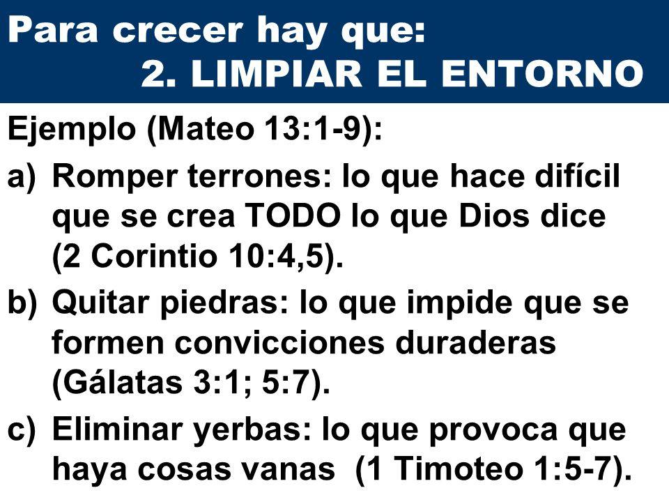 Para crecer hay que: 2. LIMPIAR EL ENTORNO a)Romper terrones: lo que hace difícil que se crea TODO lo que Dios dice (2 Corintio 10:4,5). b)Quitar pied