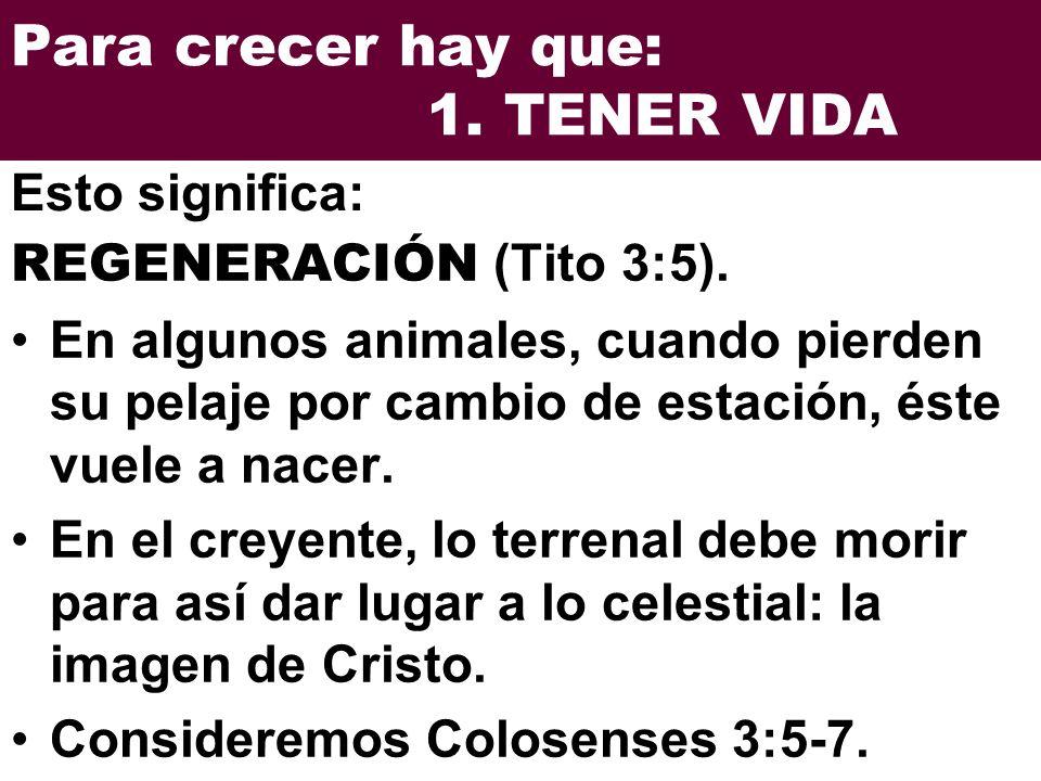 Para crecer hay que: 1.TENER VIDA RENOVACIÓN (Tito 3:5).