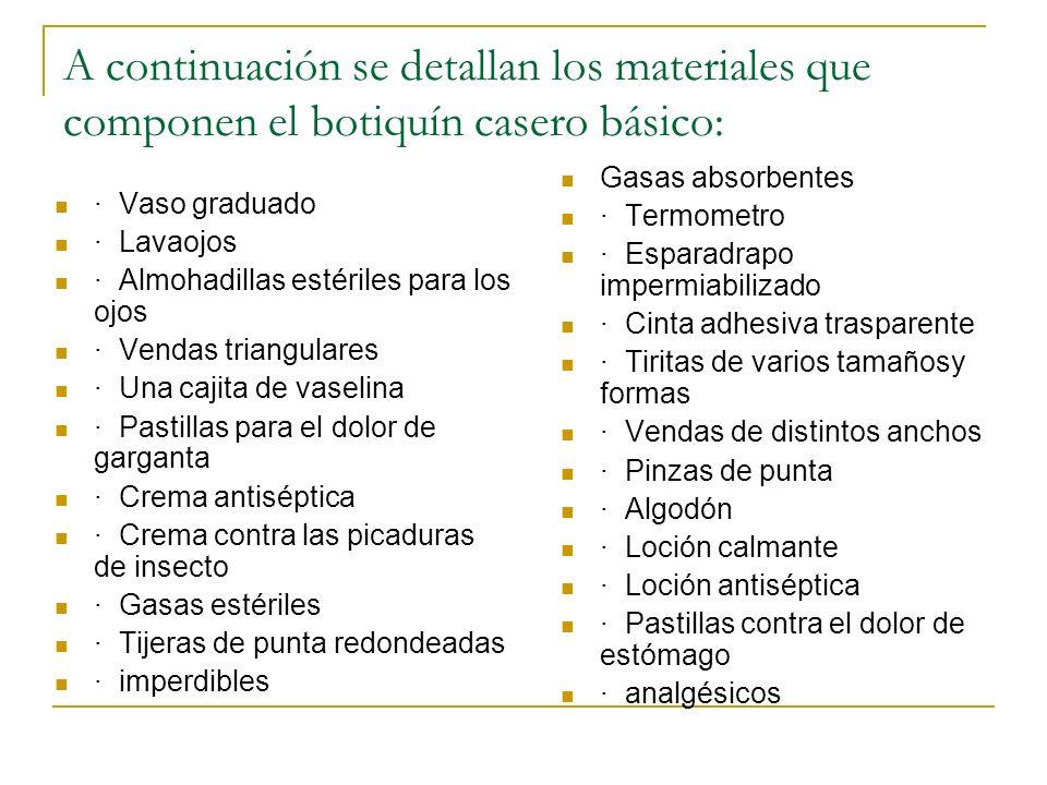 A continuación se detallan los materiales que componen el botiquín casero básico: · Vaso graduado · Lavaojos · Almohadillas estériles para los ojos ·
