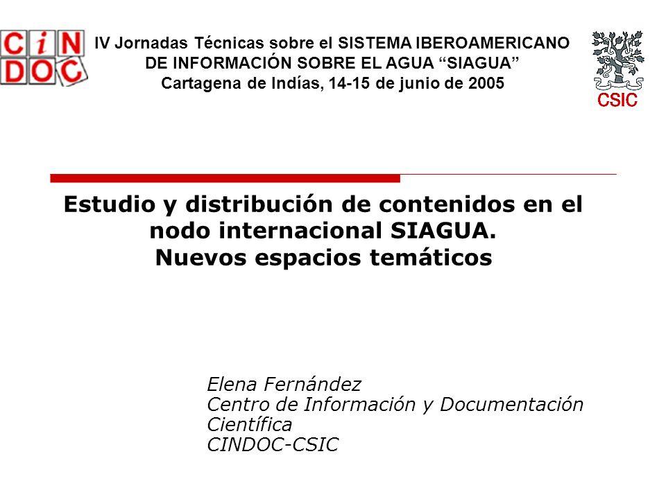 Estudio y distribución de contenidos en el nodo internacional SIAGUA.