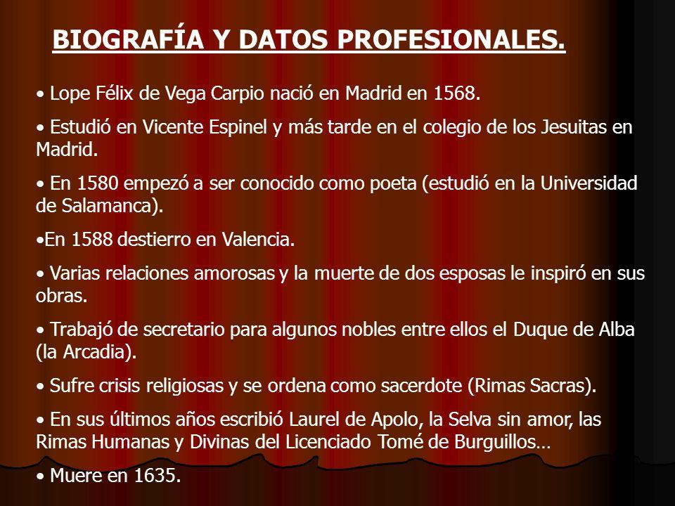 BIOGRAPHY AND PROFESSIONAL INFORMATION Lope Félix de Vega Carpio was born in Madrid in 1568.