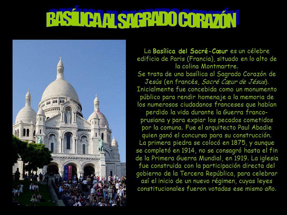 La Basílica del Sacré-Cœur es un célebre edificio de Paris (Francia), situado en lo alto de la colina Montmartre.