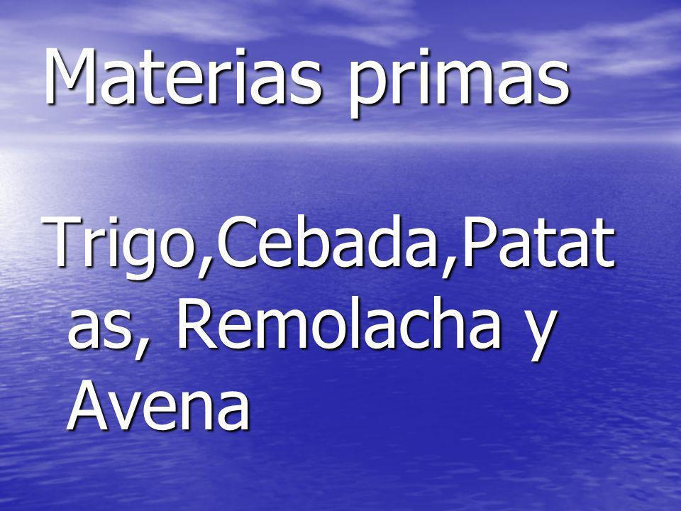 Materias primas Trigo,Cebada,Patat as, Remolacha y Avena