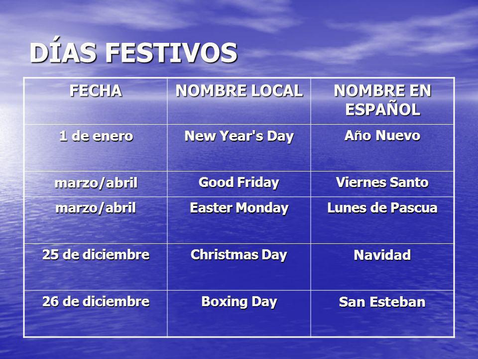 DÍAS FESTIVOS FECHA NOMBRE LOCAL NOMBRE EN ESPAÑOL 1 de enero New Year's Day A ñ o Nuevo marzo/abril Good Friday Viernes Santo marzo/abril Easter Mond