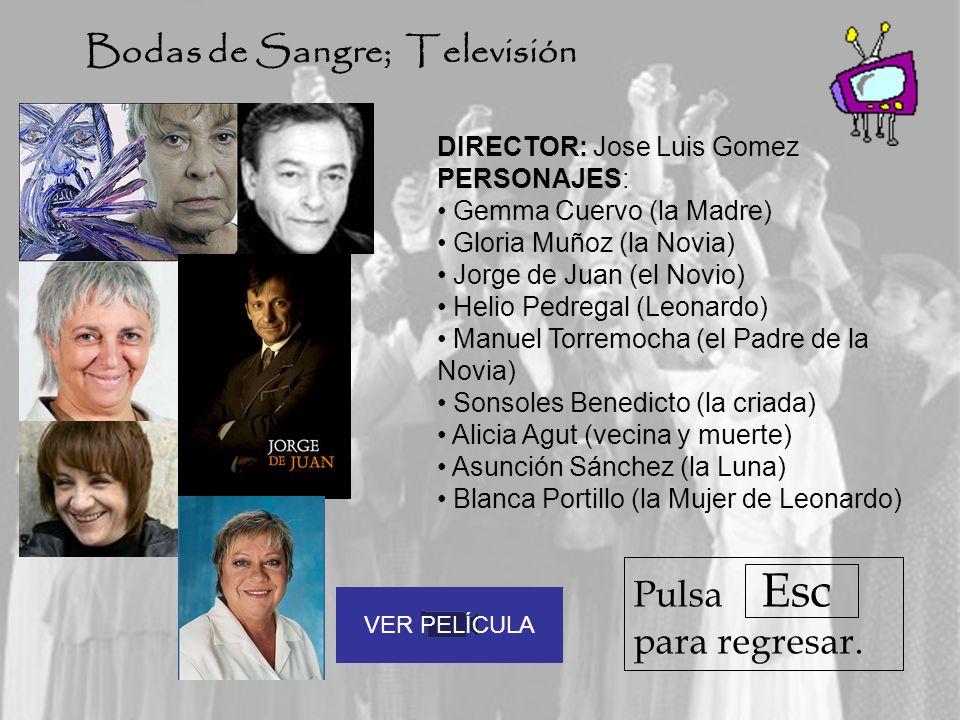 DIRECTOR: Jose Luis Gomez PERSONAJES: Gemma Cuervo (la Madre) Gloria Muñoz (la Novia) Jorge de Juan (el Novio) Helio Pedregal (Leonardo) Manuel Torrem