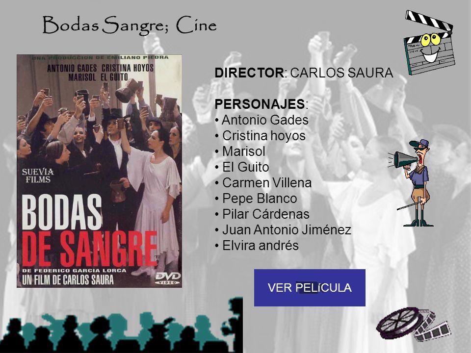 DIRECTOR: CARLOS SAURA PERSONAJES: Antonio Gades Cristina hoyos Marisol El Guito Carmen Villena Pepe Blanco Pilar Cárdenas Juan Antonio Jiménez Elvira