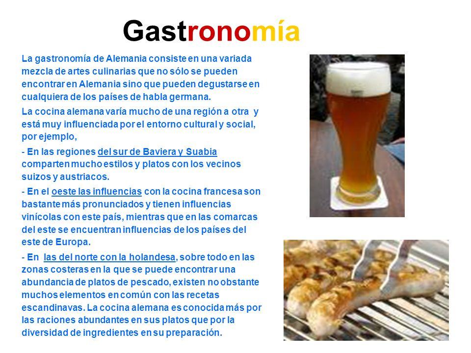 Gastronomía La gastronomía de Alemania consiste en una variada mezcla de artes culinarias que no sólo se pueden encontrar en Alemania sino que pueden