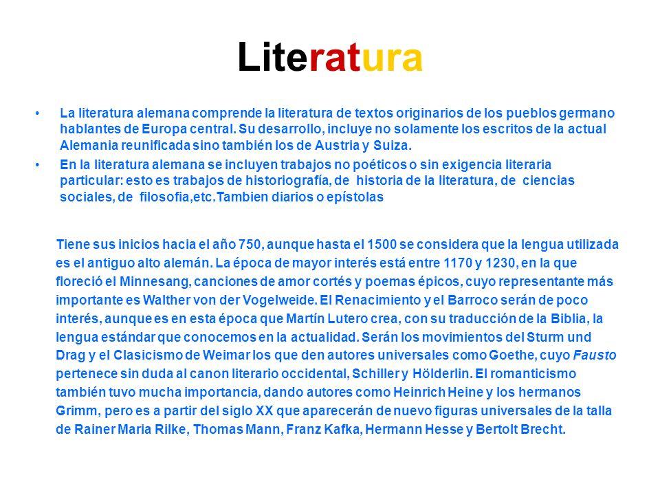 Literatura La literatura alemana comprende la literatura de textos originarios de los pueblos germano hablantes de Europa central. Su desarrollo, incl