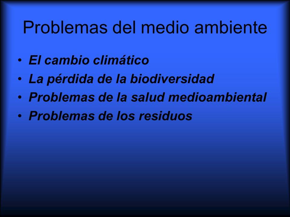 Problemas del medio ambiente El cambio climático La pérdida de la biodiversidad Problemas de la salud medioambiental Problemas de los residuos
