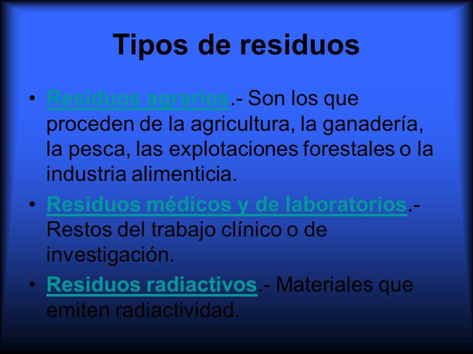 Tipos de residuos Residuos agrarios.- Son los que proceden de la agricultura, la ganadería, la pesca, las explotaciones forestales o la industria alim