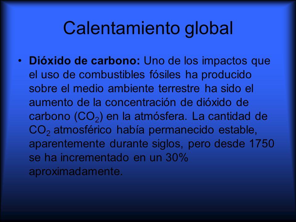 Calentamiento global Dióxido de carbono: Uno de los impactos que el uso de combustibles fósiles ha producido sobre el medio ambiente terrestre ha sido