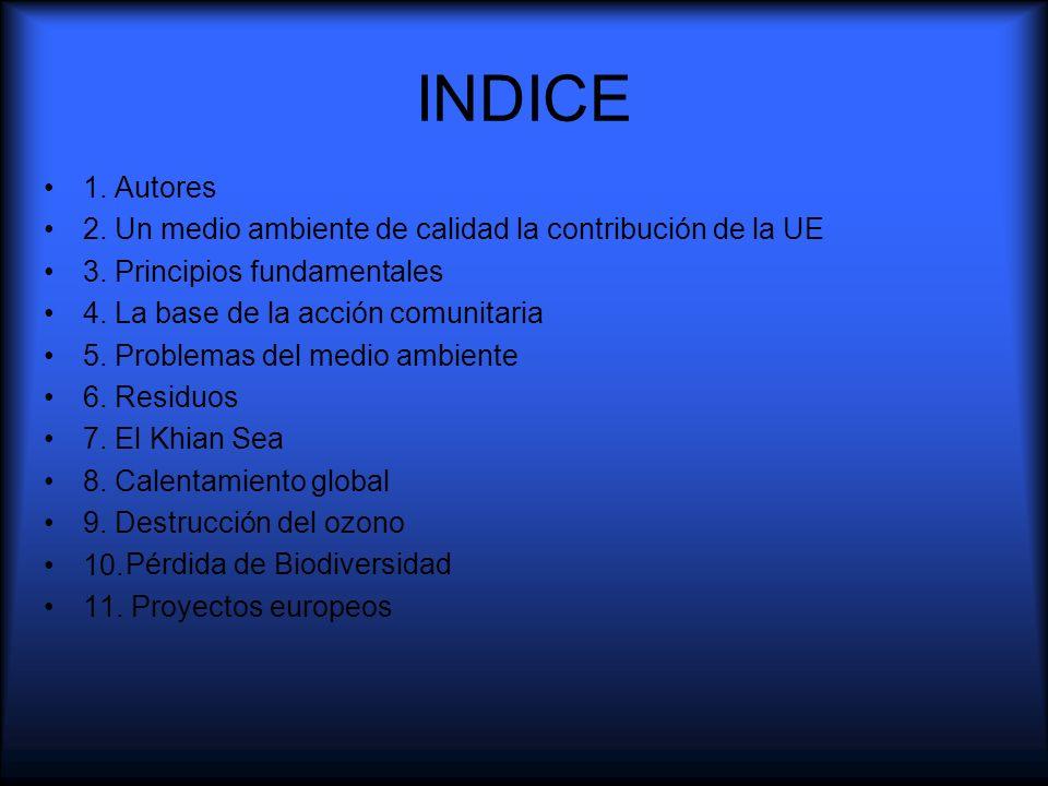 INDICE 1. Autores 2. Un medio ambiente de calidad la contribución de la UE 3. Principios fundamentales 4. La base de la acción comunitaria 5. Problema