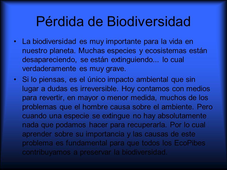 Pérdida de Biodiversidad La biodiversidad es muy importante para la vida en nuestro planeta. Muchas especies y ecosistemas están desapareciendo, se es