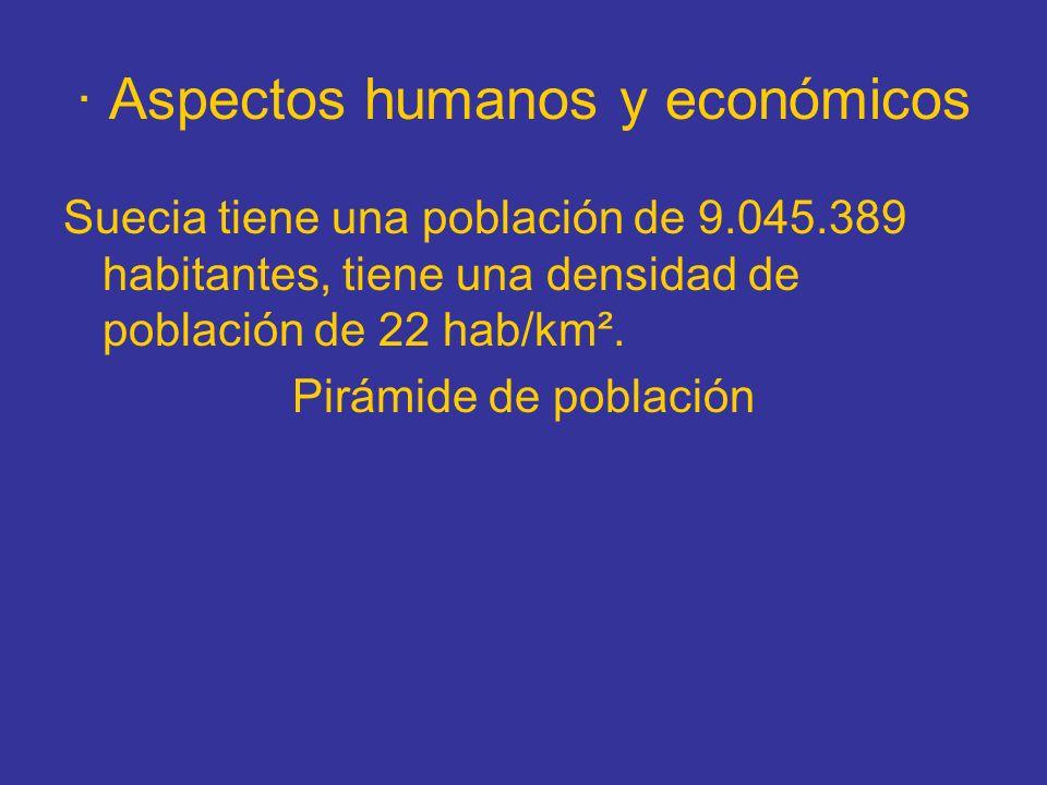 · Aspectos humanos y económicos Suecia tiene una población de 9.045.389 habitantes, tiene una densidad de población de 22 hab/km². Pirámide de poblaci