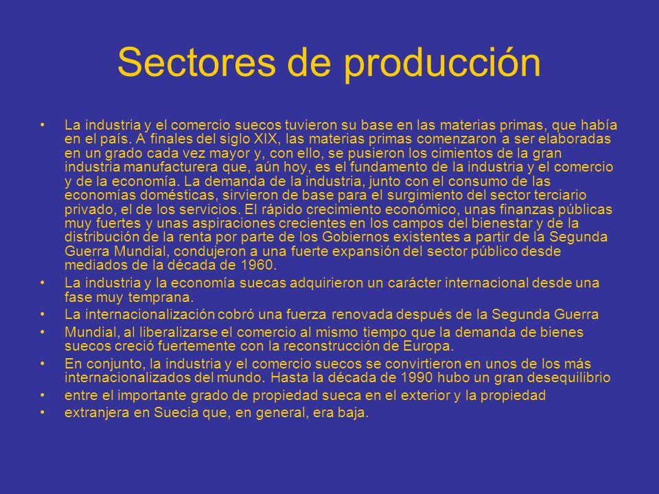 Sectores de producción La industria y el comercio suecos tuvieron su base en las materias primas, que había en el país. A finales del siglo XIX, las m